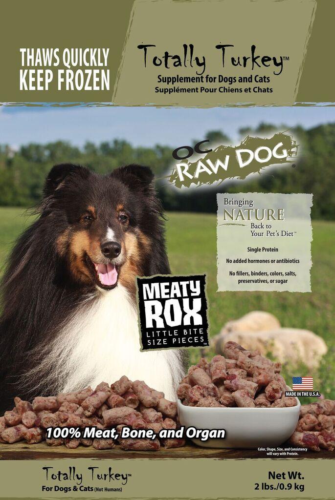 OC Raw Dog Totally Turkey Meaty Rox Raw Frozen Dog & Cat Supplement, 2-lb
