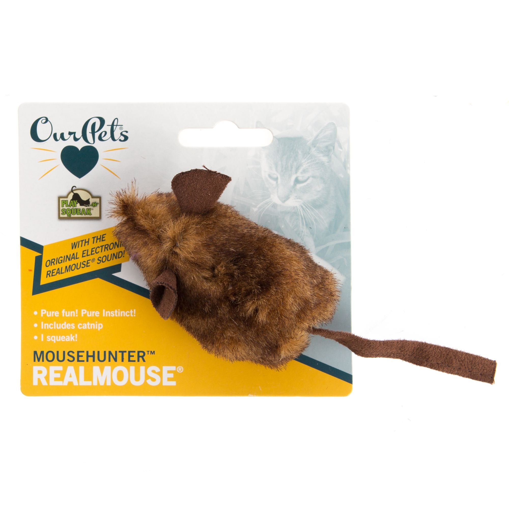 OurPets Play-N-Squeak MouseHunter Cat Toy, Brown