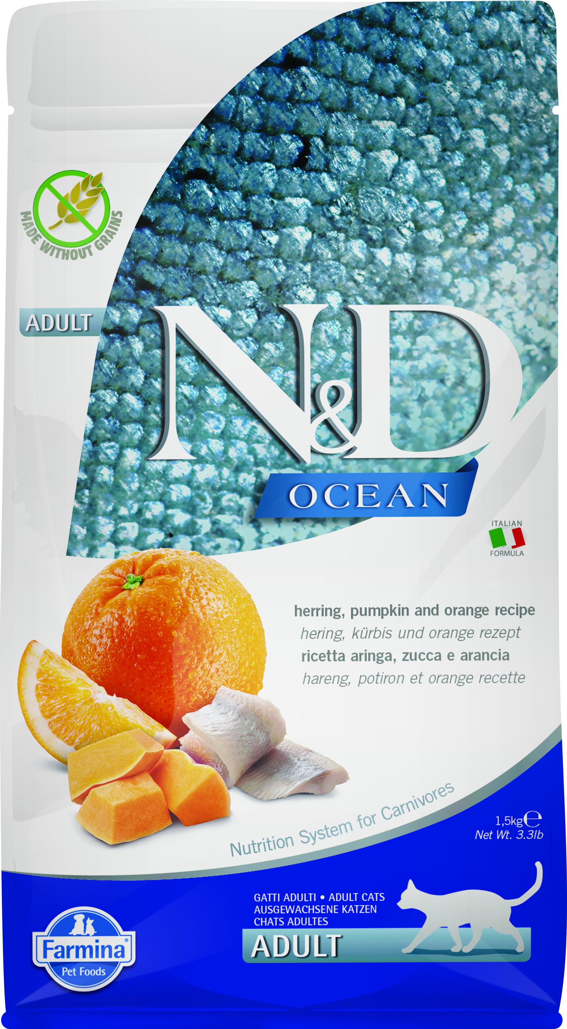 Farmina N&D Ocean Herring, Pumpkin & Orange Dry Cat Food, 3.3-lb
