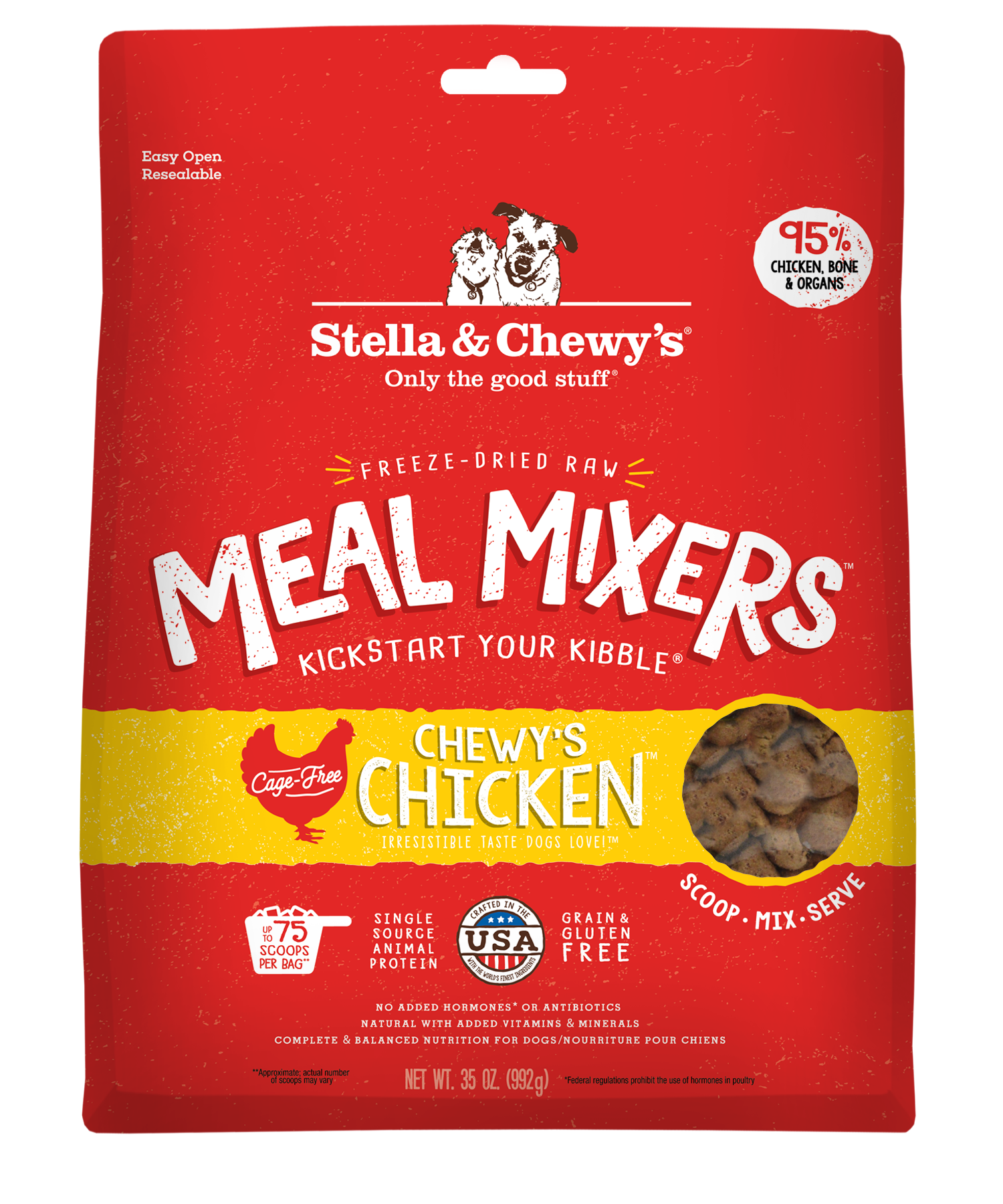 Stella & Chewy's Meal Mixers Chewy's Chicken Freeze-Dried Raw Dog Food Topper, 35-oz