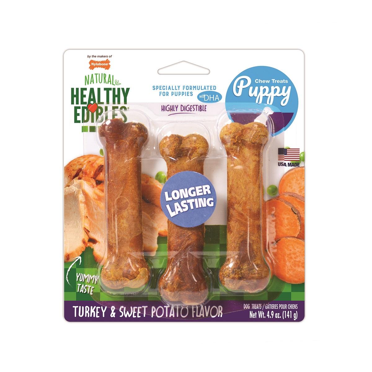 Nylabone Healthy Edibles Longer Lasting Turkey & Sweet Potato Flavor Puppy Dog Treats, Regular, 3-count