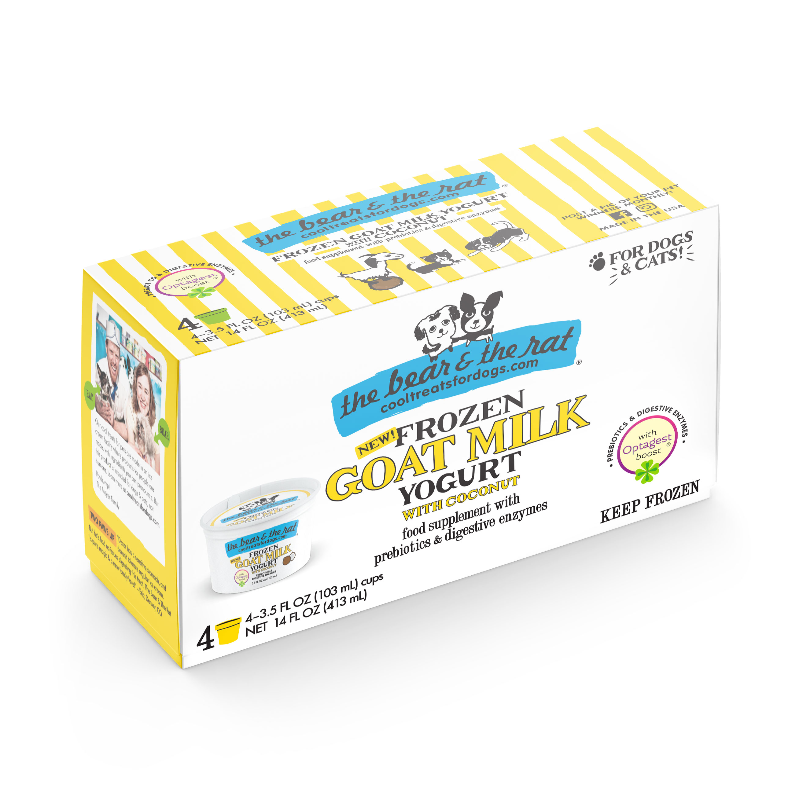 The Bear & The Rat Coconut Frozen Goat Milk Yogurt Dog Treats, 3.5-oz, 4-pack