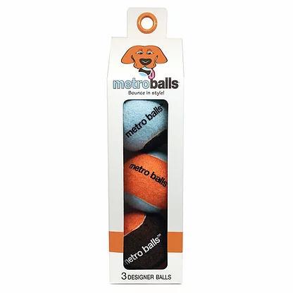 Metropaws Metroball Tennis Balls Dog Toy, Orange, 3-pk