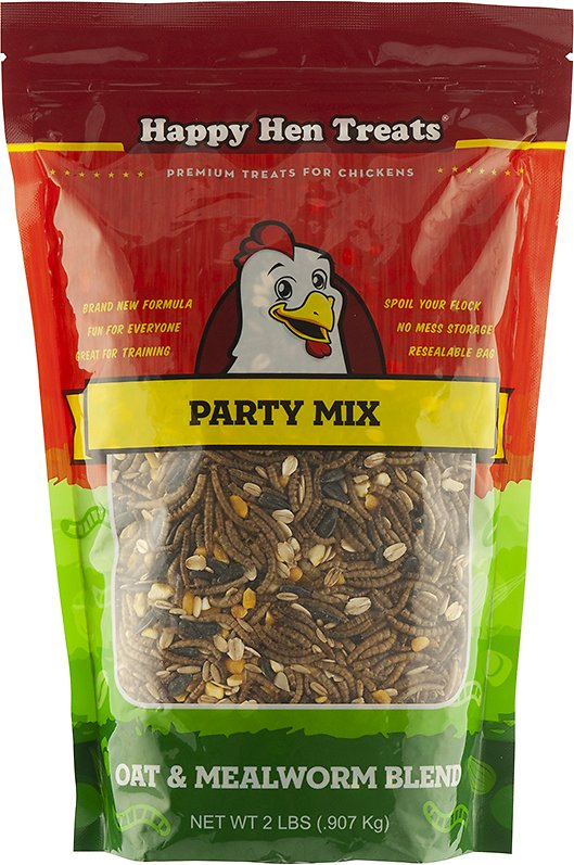 Happy Hen Treats Mealworm & Oat Party Mix Treats for Chickens, 2-lb bag