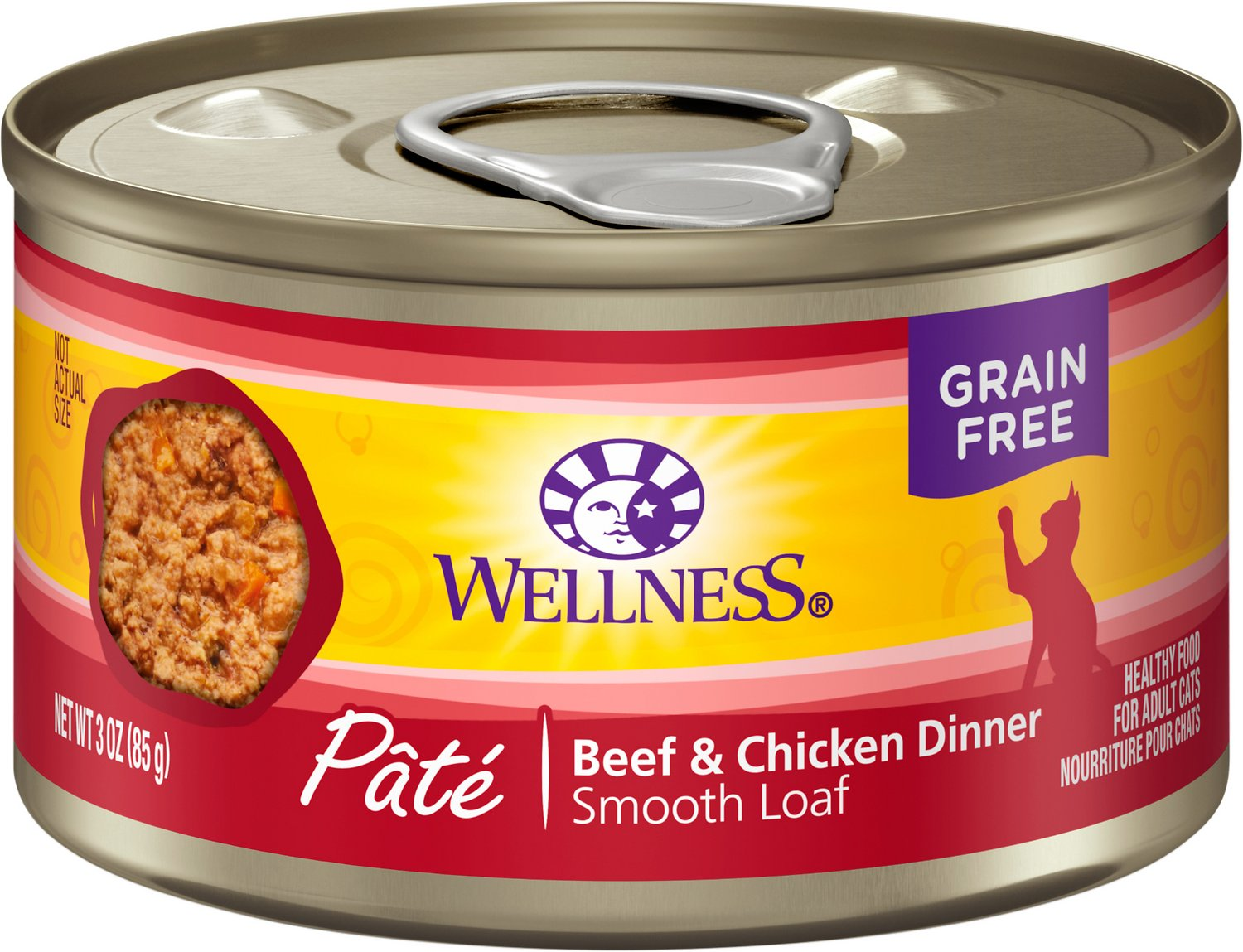 Wellness Complete Health Pate Beef & Chicken Formula Grain-Free Canned Cat Food, 3-oz