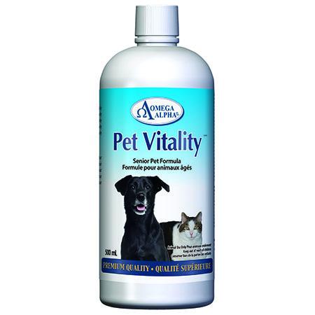 Omega Alpha Pet Vitality Senior Premium Quality Dog & Cat Supplement, 500-mL