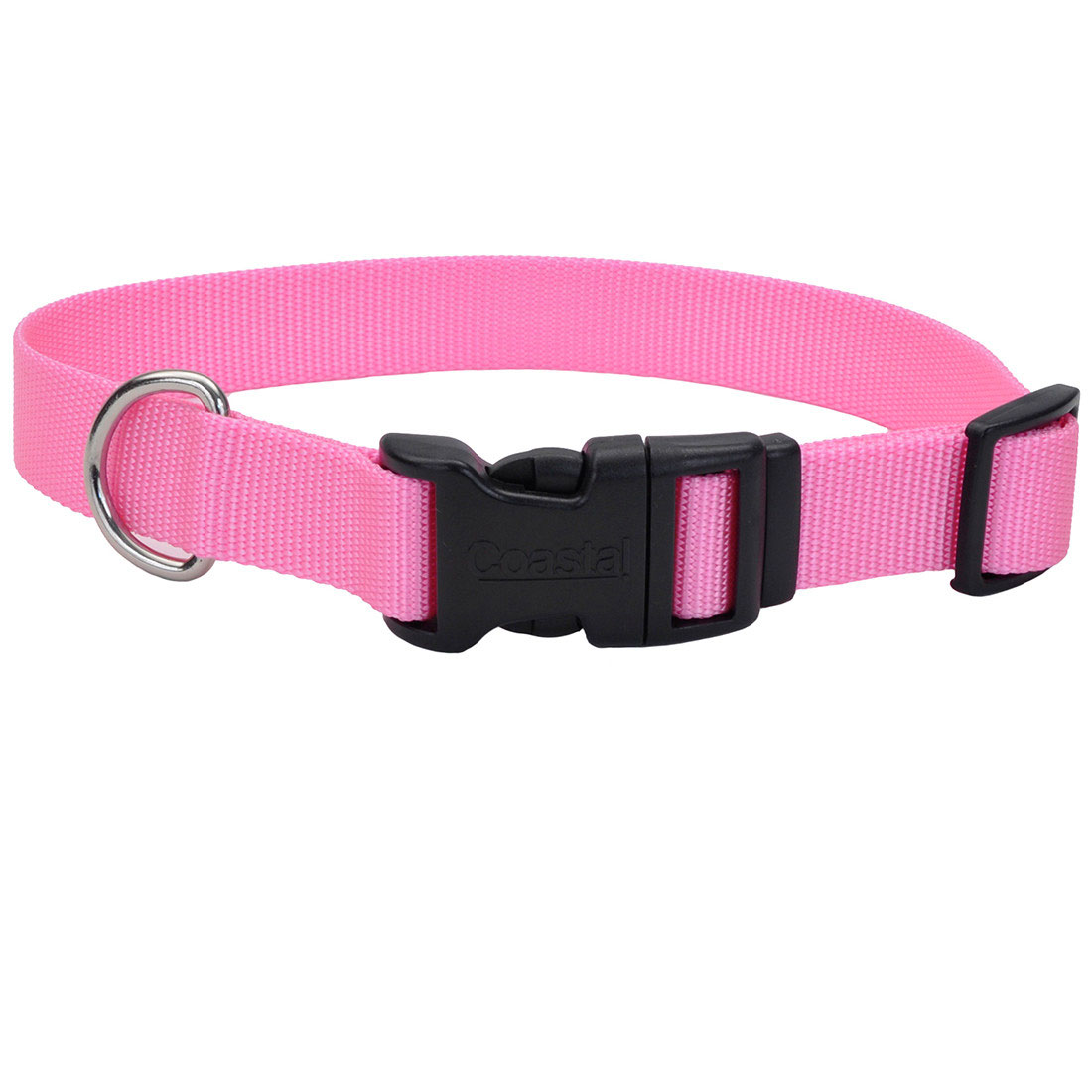 Coastal Adjustable Nylon Collar with Tuff Buckle for Dogs, Pink Bright, 3/8-in x 8-12-in