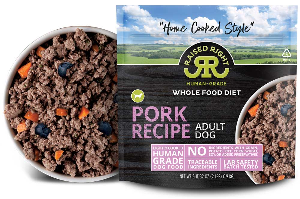 """Raised Right's Pork Human-Grade Frozen Dog Food, Low Carb """"Home Cooked Style"""" Whole Food Diet, 2-lb bag"""