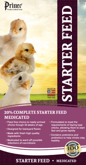 Prince Chick Starter Crumble 20% Medicated Poultry Feed, 40-lb