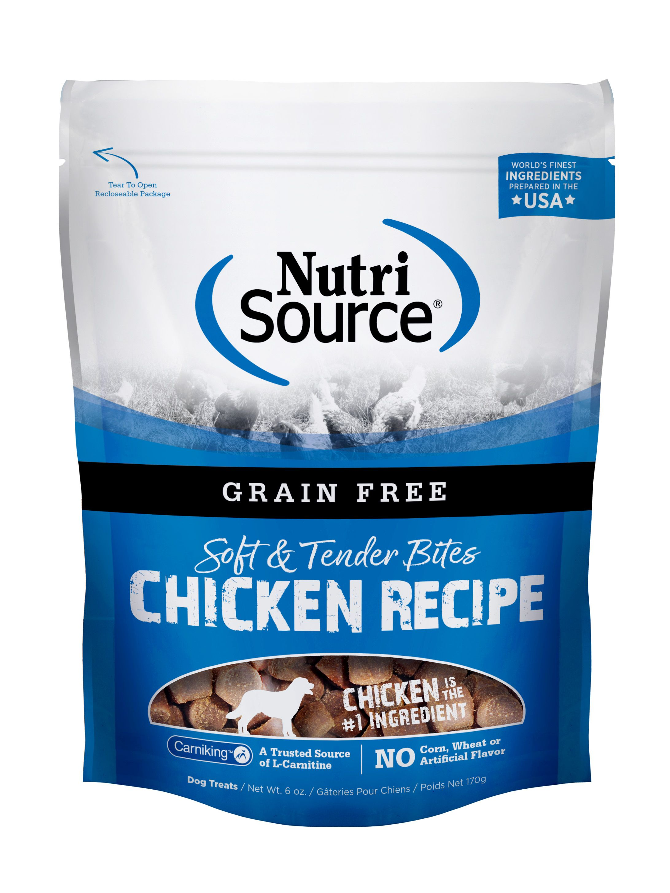 NutriSource Grain Free Bites Chicken Dog Treats, 6-oz