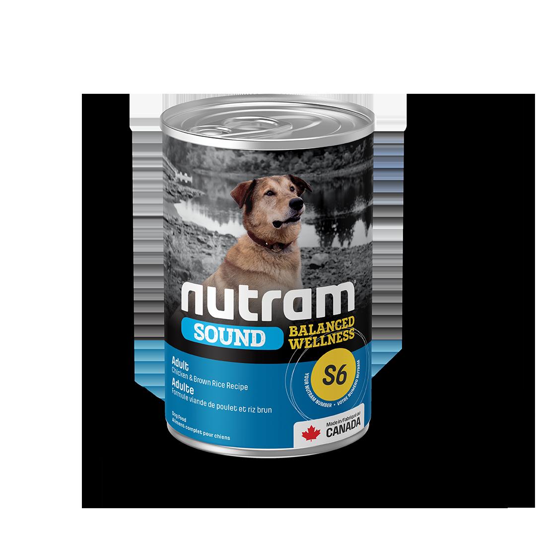 Nutram Sound S6 Balanced Wellness Chicken & Brown Rice Wet Dog Food, 369-gram