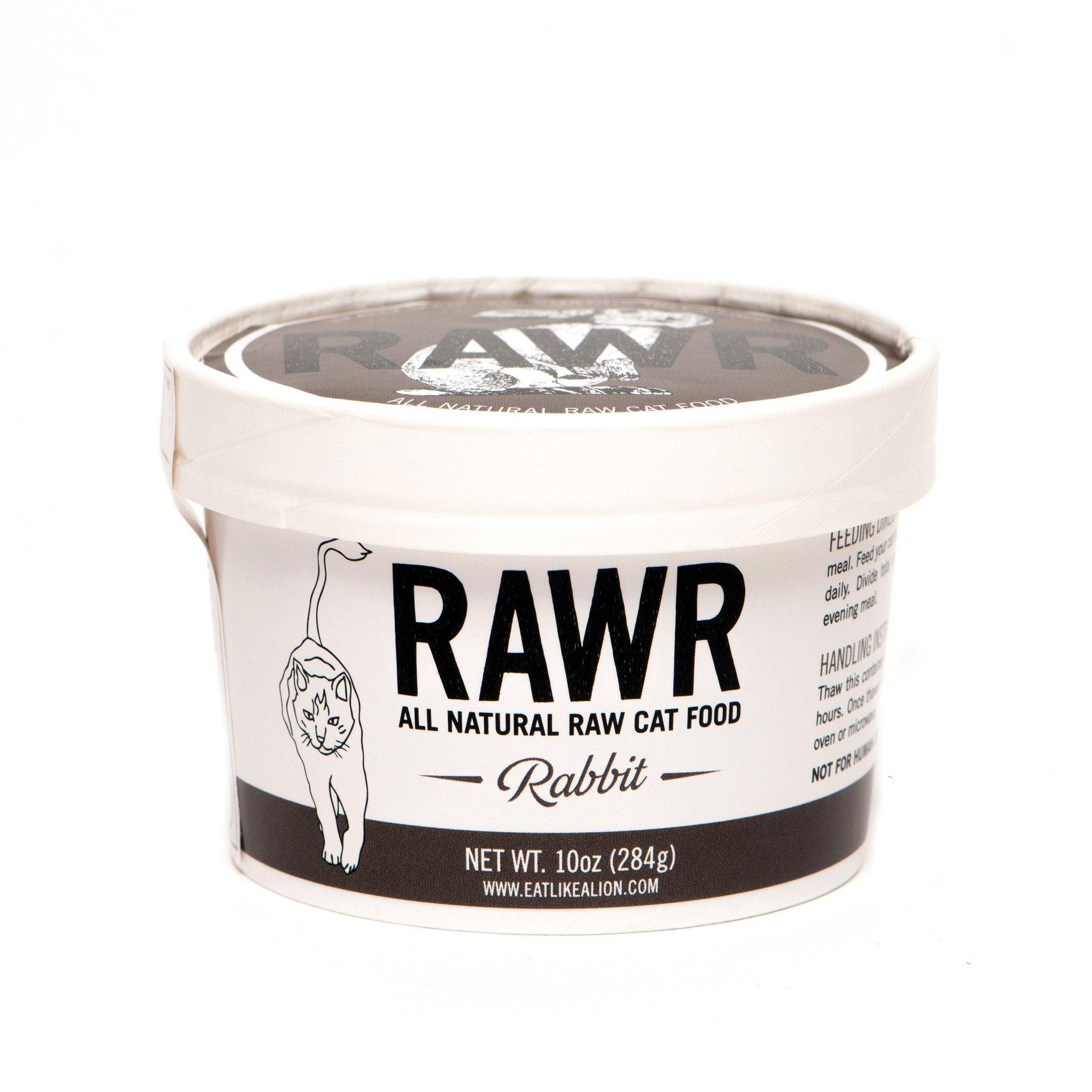 RAWR All Natural Rabbit Raw Frozen Cat Food, 8-oz