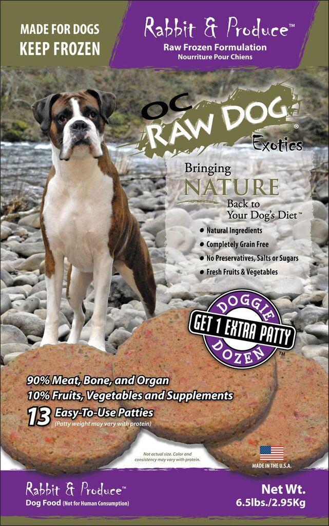 OC Raw Dog Rabbit & Produce Patties Raw Frozen Dog Food, 6.5lbs