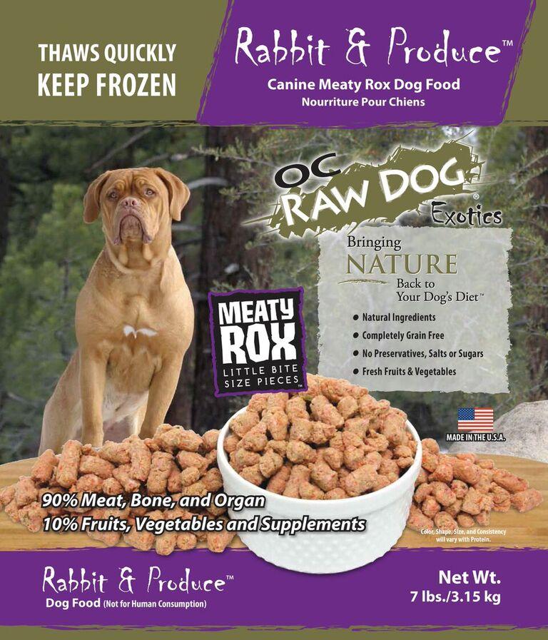 OC Raw Dog Rabbit & Produce Meaty Rox Raw Frozen Dog Food, 7-lb