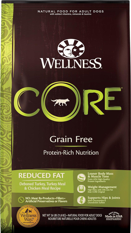 Wellness CORE Grain-Free Reduced Fat Turkey & Chicken Recipe Dry Dog Food, 26-lb bag