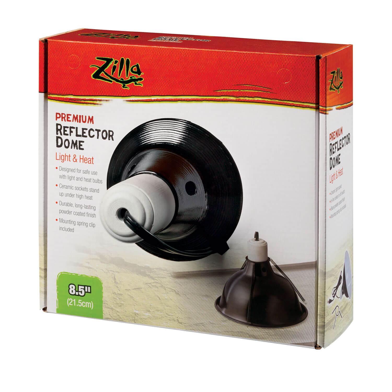 Zilla Premium Reflector Light & Heat Black Ceramic Dome Lighting Fixture, 8.5-in