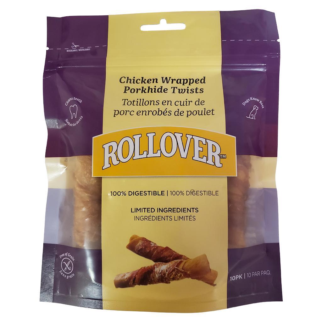 Rollover Premium Chicken Wrapped Porkhide Twists Dog Treats,  10-pk