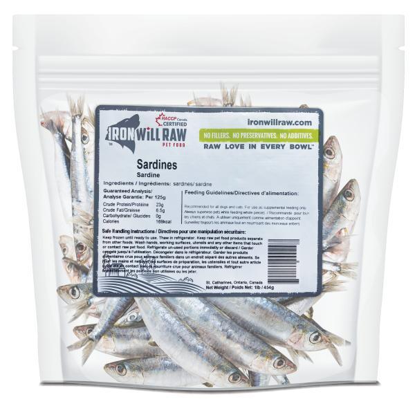 Iron Will Raw Sardines Frozen Cat & Dog Food, 1-lb