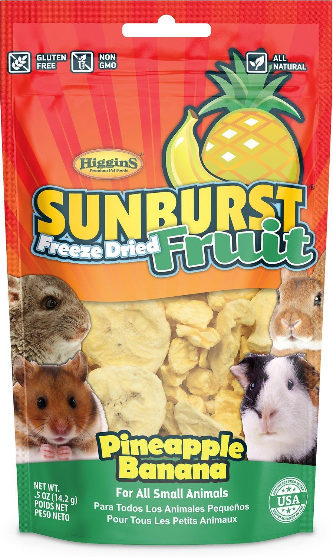 Higgins Sunburst Freeze Dried Fruit Pineapple Banana Small Animal Treats, .5-oz bag (Weights: 0.5ounces) Image