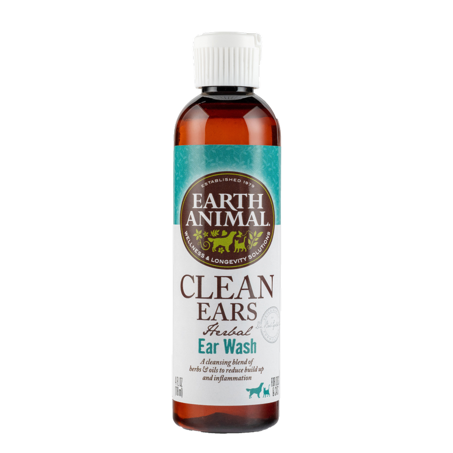 Earth Animal Clean Ears Herbal Ear Wash for Dogs & Cats 4-oz Bottle