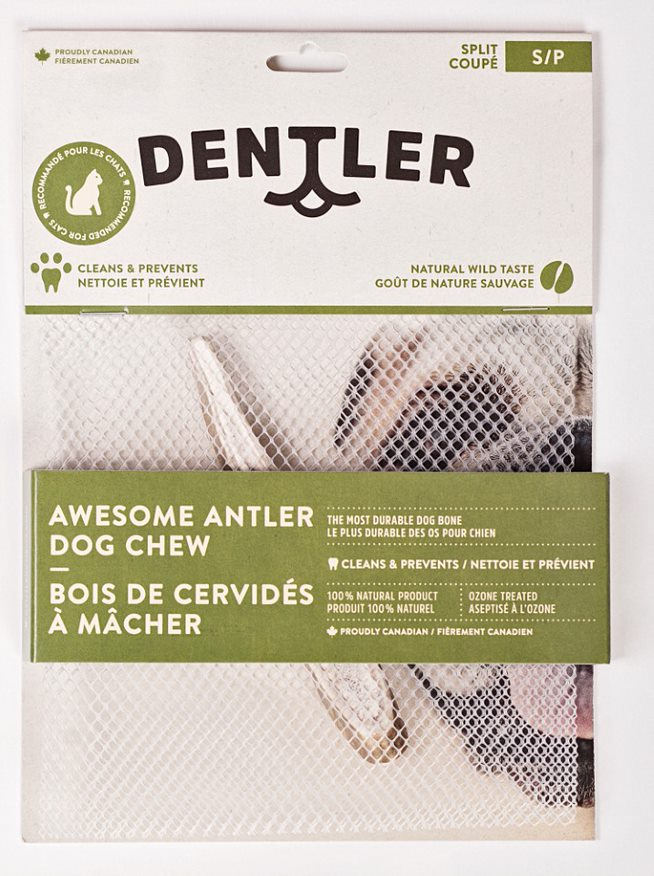Dentler Split Awesome Antler Dental Dog Chew, Natural, Small