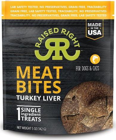 Raised Right Meat Bites Cat and Dog Treats, Turkey Liver, 5-oz bag