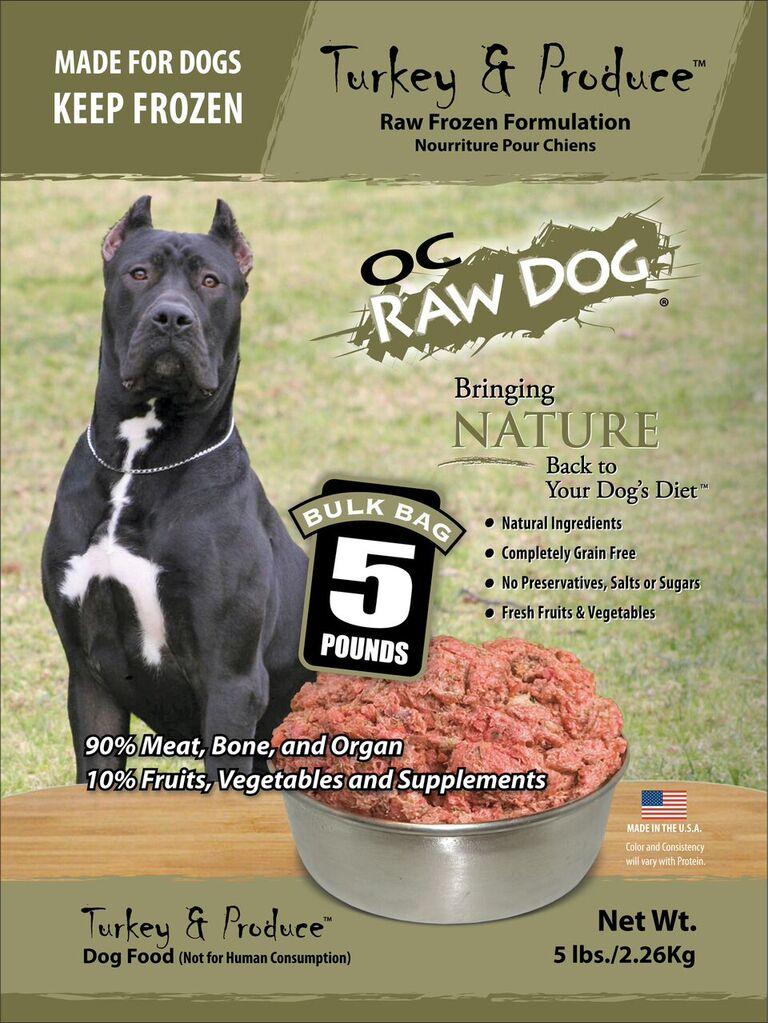 OC Raw Dog Turkey & Produce Bulk Bag Raw Frozen Dog Food, 5-lb