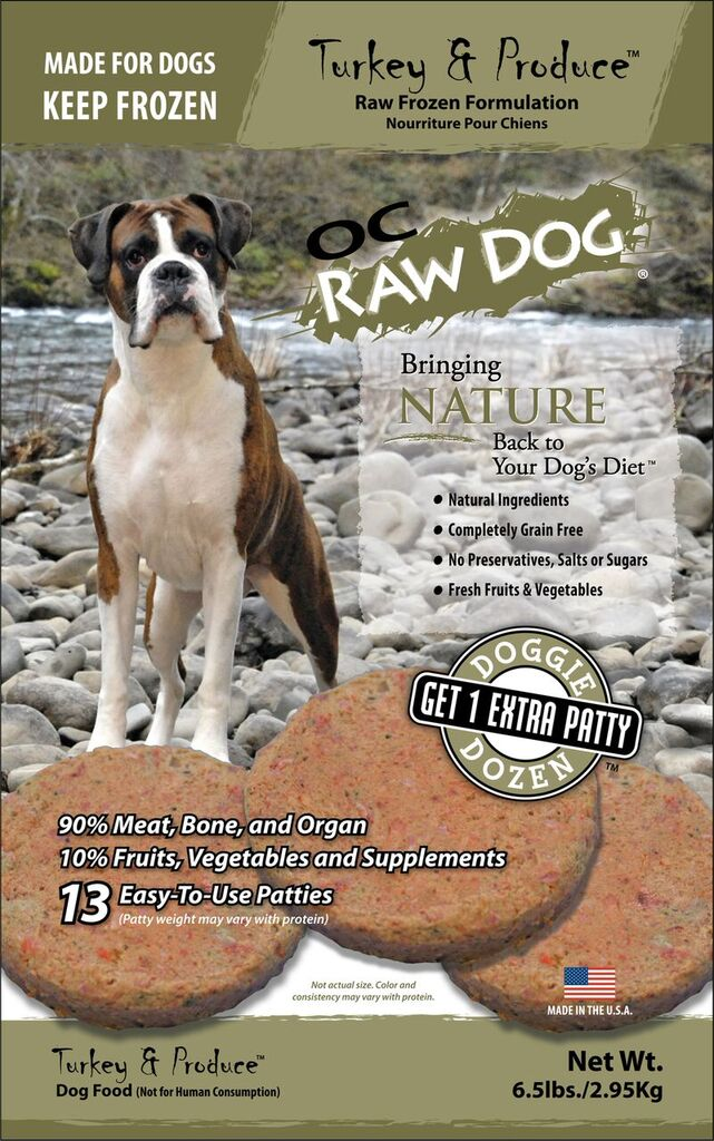 OC Raw Dog Turkey & Produce Patties Raw Frozen Dog Food, 6.5lbs