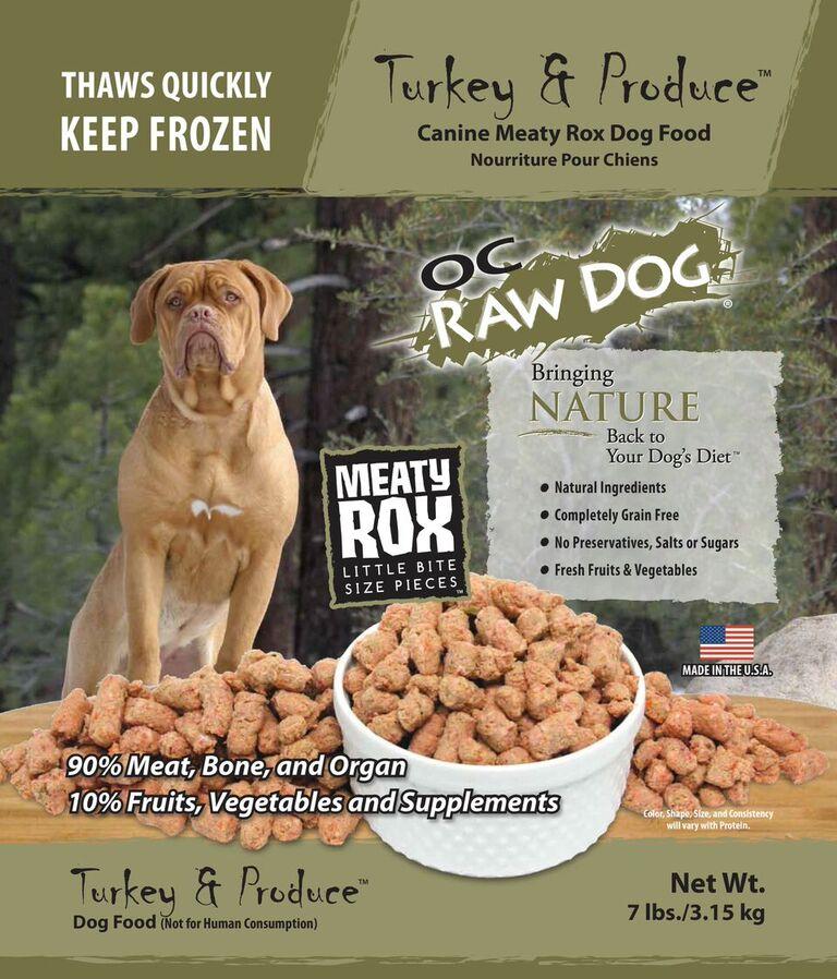 OC Raw Dog Turkey & Produce Meaty Rox Raw Frozen Dog Food, 7-lb
