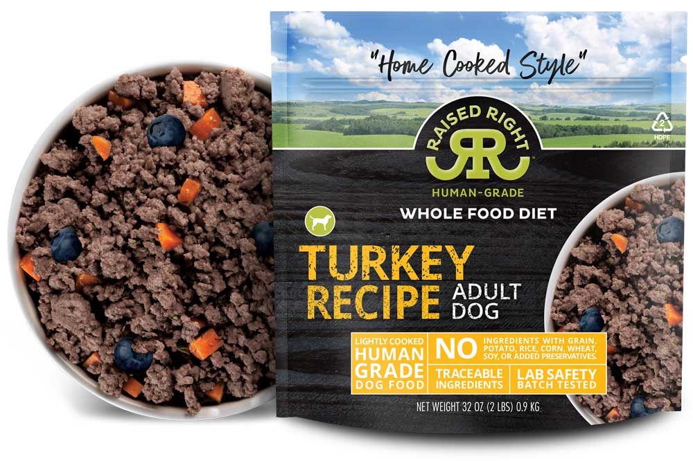 "Raised Right's Turkey Human-Grade Frozen Dog Food, Low Carb ""Home Cooked Style"" Whole Food Diet, 2-lb bag"