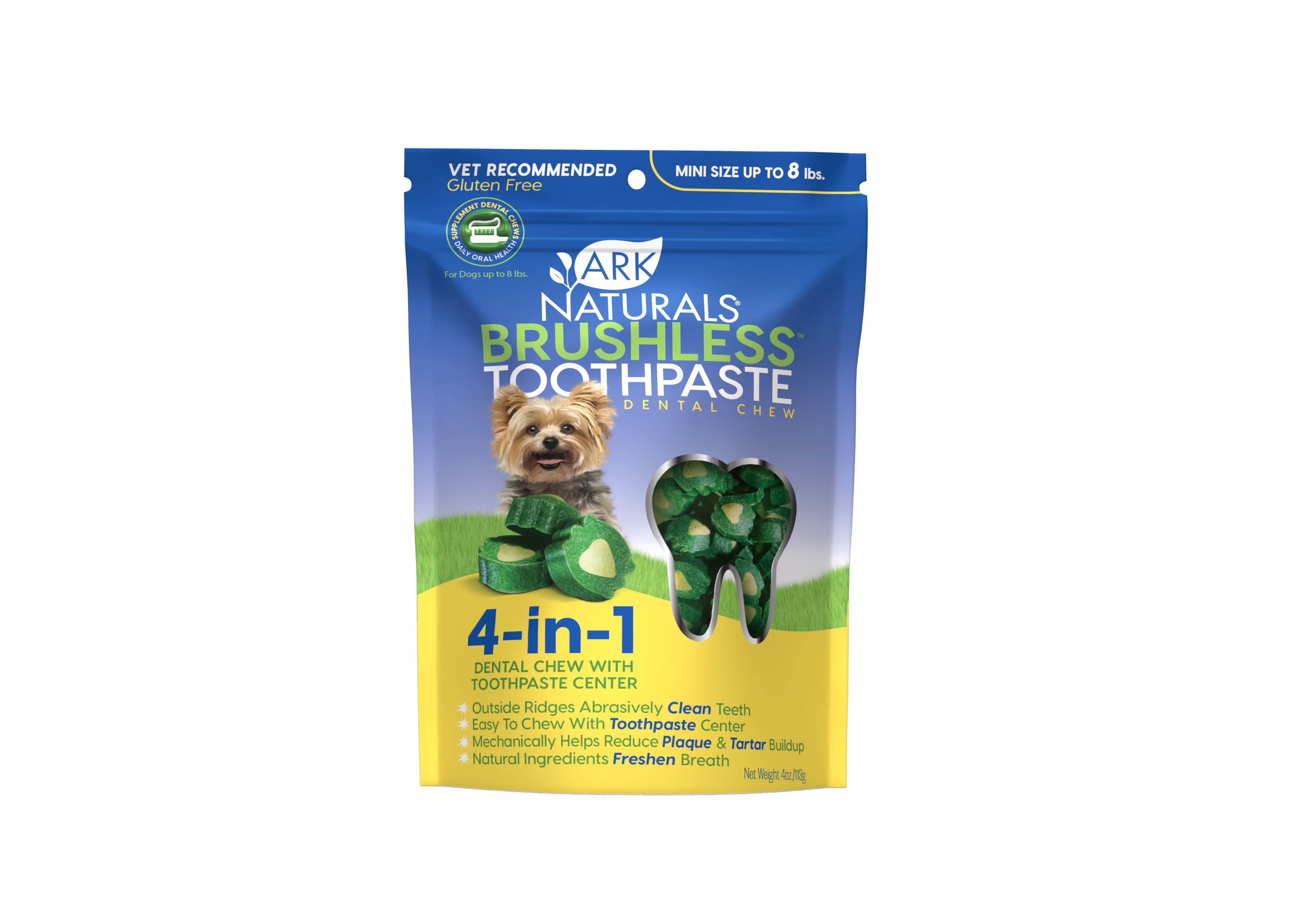Ark Naturals Breath-Less Brushless Toothpaste Mini Dog & Cat Chews, 4-oz bag (Weights: 4ounces) Image