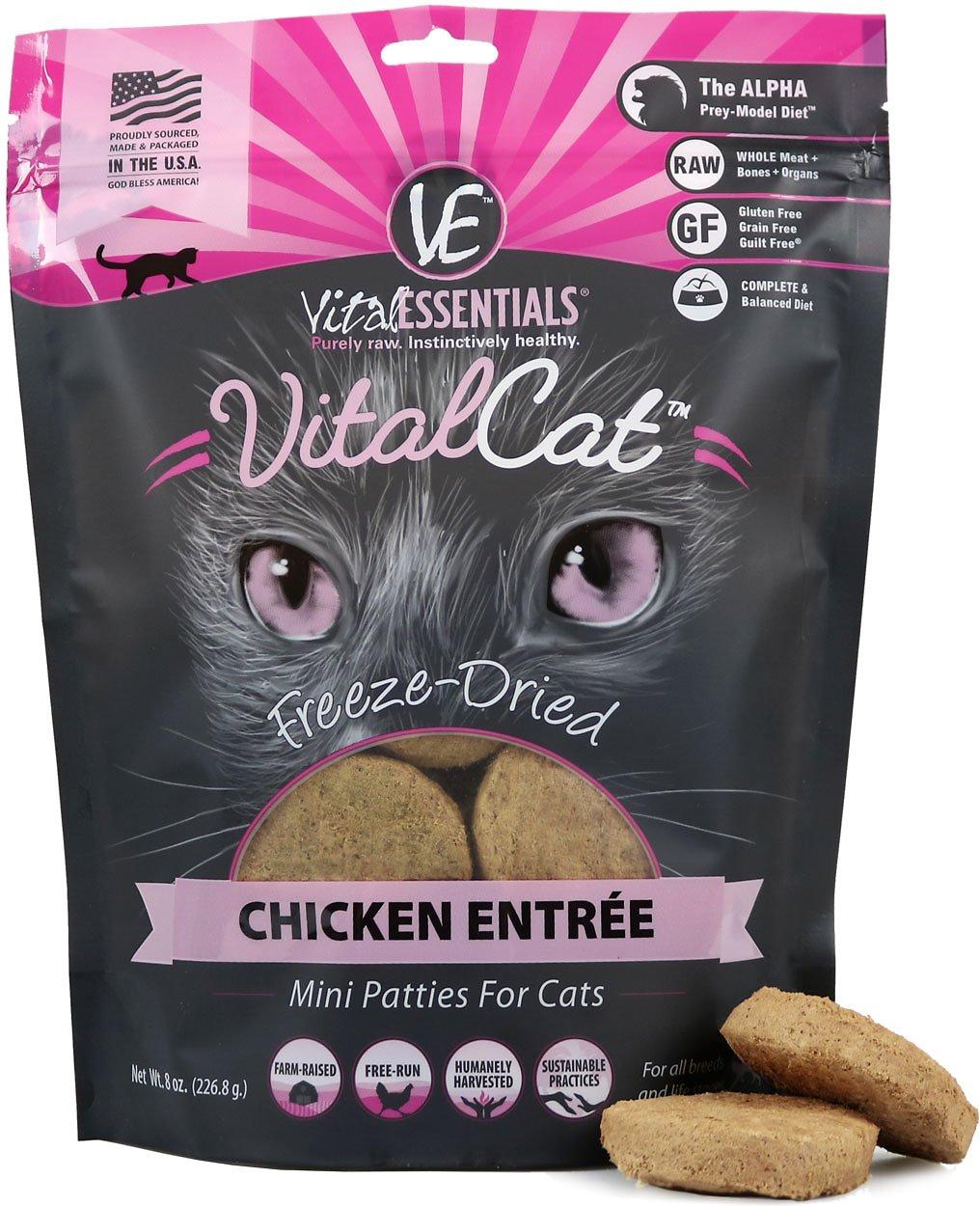 Vital Essential Vital Cat Chicken Entrée Mini Patties Freeze-Dried Cat Food, 8-oz