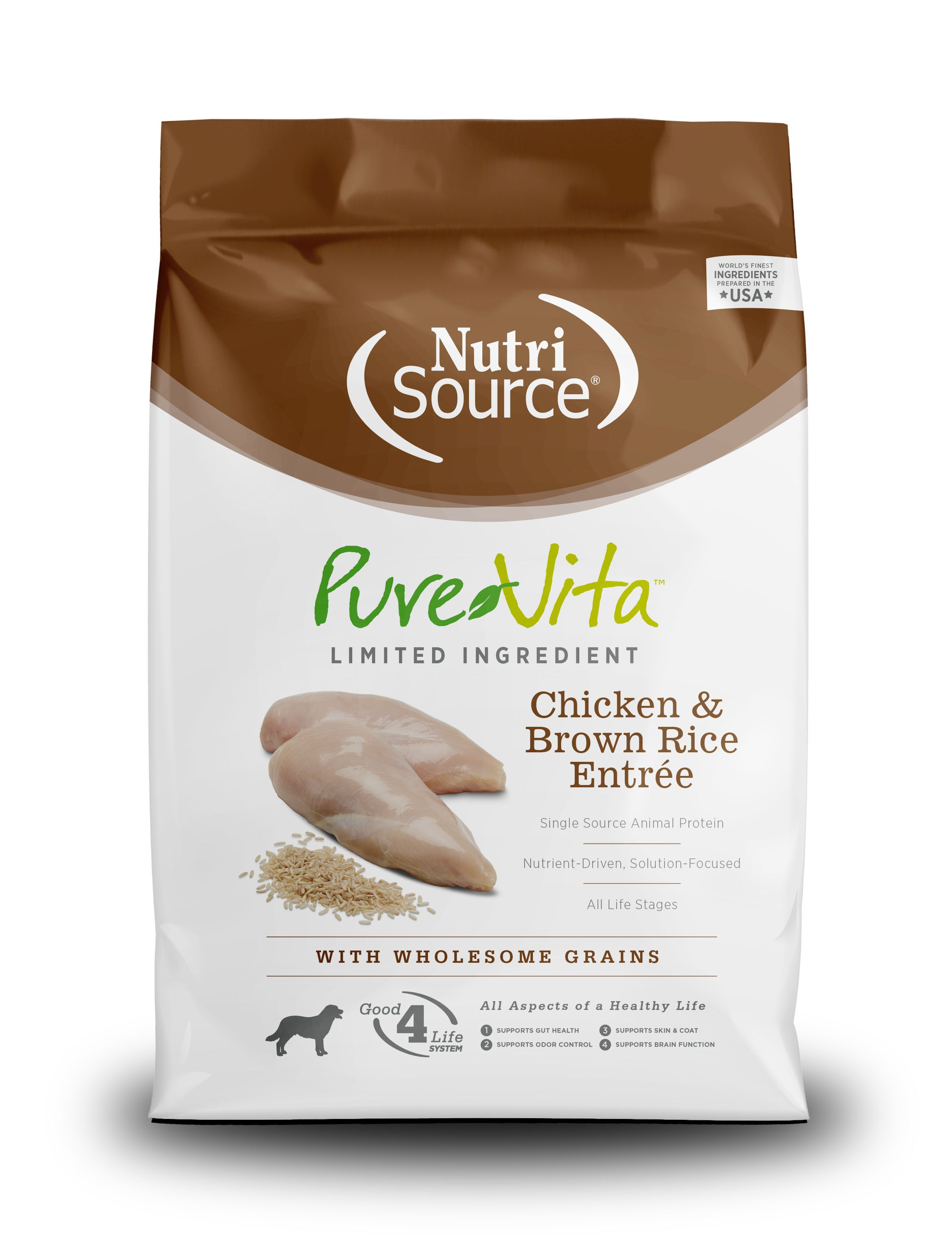 PureVita Chicken And Brown Rice Dry Dog Food, 15-lb