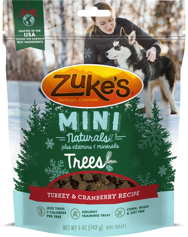 Zukes Mini Naturals Trees Turkey Cranberry Dog Treats, 5-oz